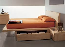 Platform bed with cabinets